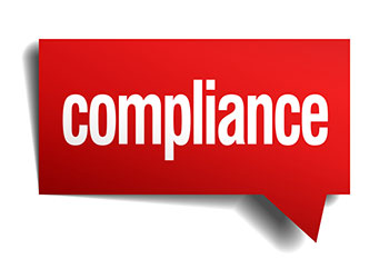 red talk-box with the word compliance